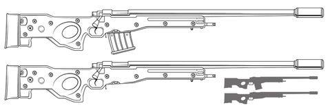 Rifle de atirador furtivo gráfico com grampo da munição ilustração stock