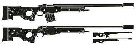 Rifle de atirador furtivo gráfico da silhueta com grampo da munição ilustração do vetor