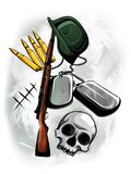 Rifle del ejemplo, casco, cráneo, placas militares y balas libre illustration