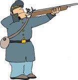 Rifle del shooting del soldado de la unión Fotografía de archivo libre de regalías