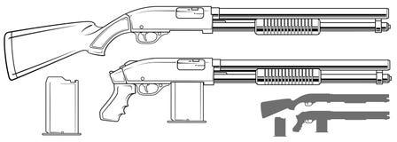 Rifle gráfico da espingarda com grampo da munição ilustração do vetor