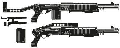 Rifle gráfico da espingarda da silhueta com grampo da munição ilustração stock