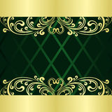 Rifle-green Background decorated a gold  border. On a picture a decorative pattern is presented. Luxury rifle-green Background decorated a gold vintage border Stock Photo