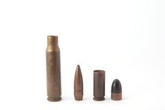 Rifle and gun ammunition. Rifle and gun rusty  ammunition Stock Photos