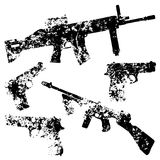 Rifle and gun black grunge template. Drawing on old rough wall. White background isolated. Stylish image for a variety of design: advertising, decoration, web Stock Image
