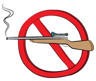 Rifle gun not allowed sign.  Stock Images