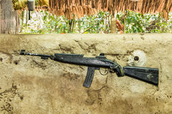 Rifle Gun - Vietnam War. Rifled gun exposed in the park of Cu Chi Tunnels near Ho Chi Minh in Vietnam from the Vietnam War Royalty Free Stock Photo