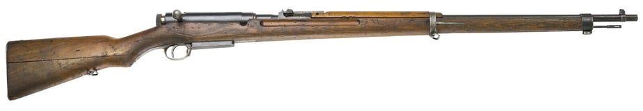 Rifle guns on a white background Russian weapons. Rifle and bayonet knife dagger guns of World War I on a white background. Russian weapons stock photo