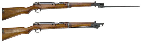 Rifle guns on a white background Russian weapons Stock Photos