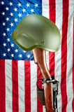 Rifle and helmet memorial Royalty Free Stock Image