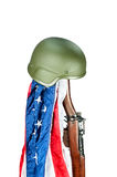 Rifle and helmet memorial Royalty Free Stock Photography