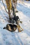 Rifle with helmet Stock Photo