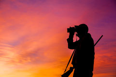 Rifle Hunter Glassing at Sunrise Stock Photography