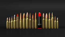 Rifle lipstick ammunition on black background 3d illustration Royalty Free Stock Images