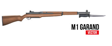 Rifle M1 Garand with knife bayonet Vector Stock Photos