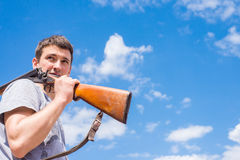 Rifle. A man holding a hunting rifle in his hand Stock Photo