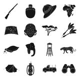 Rifle, mask, map of the territory, diamonds and other equipment. African safari set collection icons in black style. Vector symbol stock illustration Royalty Free Stock Image
