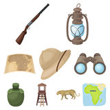 Rifle, mask, map of the territory, diamonds and other equipment. African safari set collection icons in cartoon style Royalty Free Stock Photos