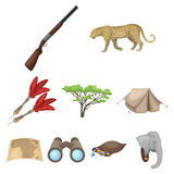 Rifle, mask, map of the territory, diamonds and other equipment. African safari set collection icons in cartoon style. Vector symbol stock illustration Stock Photo