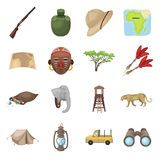 Rifle, mask, map of the territory, diamonds and other equipment. African safari set collection icons in cartoon style Royalty Free Stock Photography
