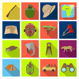 Rifle, mask, map of the territory, diamonds and other equipment. African safari set collection icons in flat style. Vector symbol stock illustration Royalty Free Stock Photos