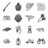 Rifle, mask, map of the territory, diamonds and other equipment. African safari set collection icons in monochrome style Royalty Free Stock Images