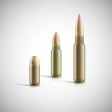 Rifle and pistol bullets  on white Royalty Free Stock Photography