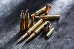 Rifle and pistol copper cartridges Stock Photography