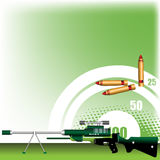 Rifle with scope. Abstract colorful illustration with green rifle with scope, target and three colored bullets Royalty Free Stock Photo