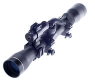 Rifle scope. With laser isolate on white royalty free stock photo