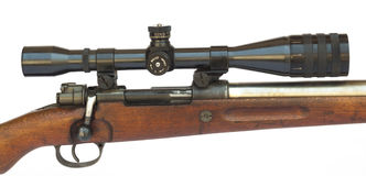 Rifle Scope. Close-up side view isolated on white background Stock Photography