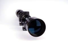 Rifle scope. Old rifle scope isolated on white Stock Photos