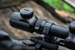 Rifle with a scope and bipod stock photo