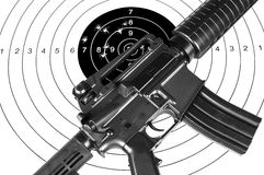 Rifle and shooting target Stock Photo