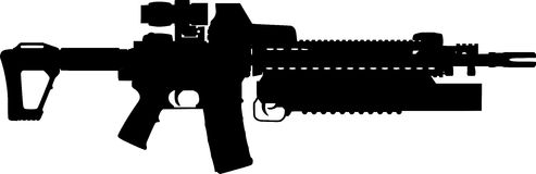Assualt Rifle Silhouette Royalty Free Stock Images