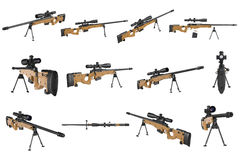 Rifle sniper beige weapon set Royalty Free Stock Photography