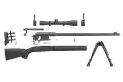 Rifle sniper black equipment, side view Stock Images