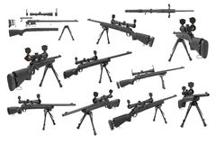 Rifle sniper with optical scope weapon set Stock Photography