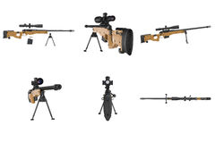 Rifle sniper weapon equipment set Royalty Free Stock Image