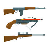 Rifle, submachine gun, crossbow. Rifle, submachine gun and crossbow vector illustration. Hunter and military set Stock Image