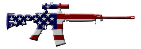 Rifle weapon in the USA. A rifle in the USA flag colors Stock Photo