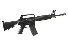 Rifle in white background. Rifle m-16 against white background Royalty Free Stock Photo