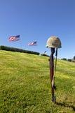 Rifle y banderas cruzados de la batalla fotografía de archivo