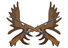Rifles de la caza y cornamentas de alces libre illustration