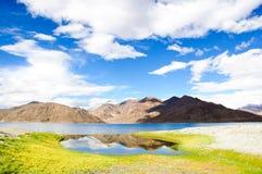 Riflessione bella del lago Pangong, Ladakh, India Fotografie Stock Libere da Diritti