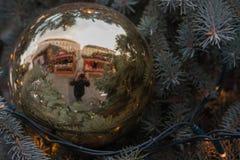 Riflessione dei mercati di natale sul mercato del cavolo del christm Fotografie Stock