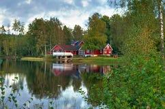 Riflessione del lago september in Svezia Fotografie Stock Libere da Diritti