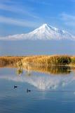Riflessione del monte Ararat nel lago Fotografia Stock