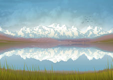 Riflessione del paesaggio della montagna Fotografie Stock Libere da Diritti