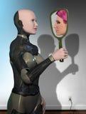 Riflessione del robot della donna royalty illustrazione gratis
